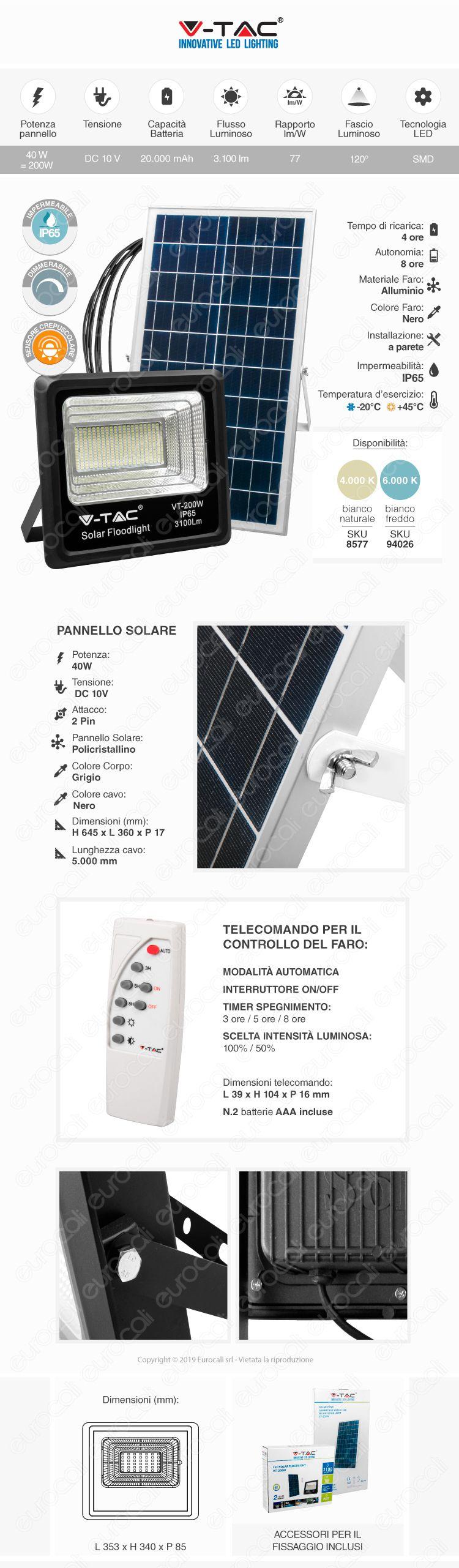 V-Tac VT-200W Faro LED 200W a Batteria con Pannello Solare e Telecomando