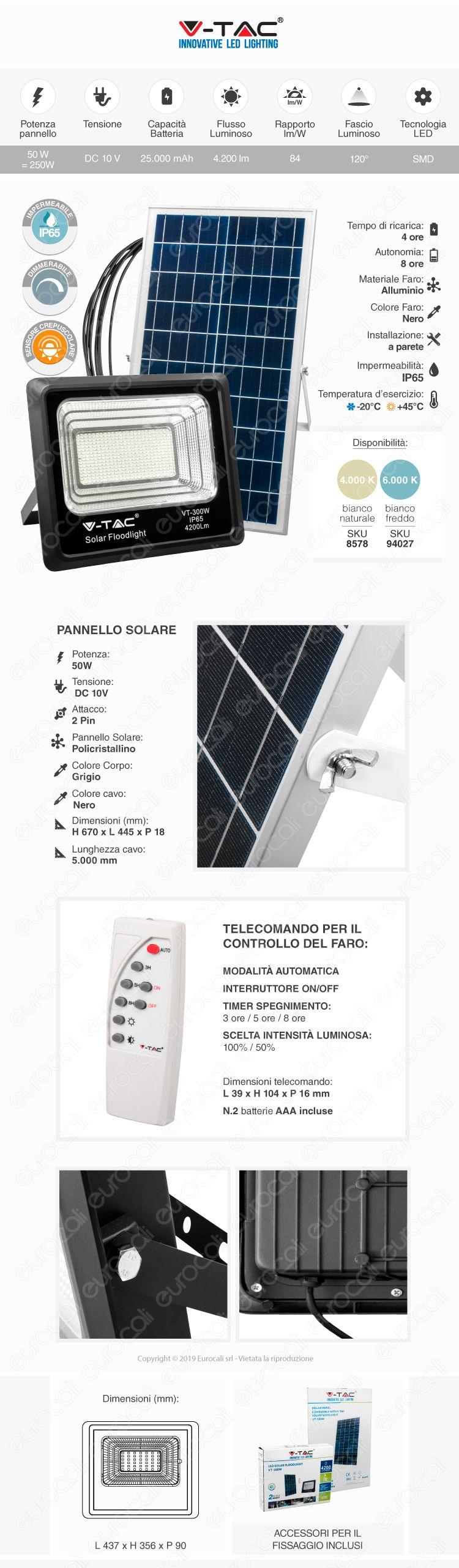 V-Tac PRO VT-2953 Lampada da Muro Wall Light LED CREE 3W + SMD 6W Bianco