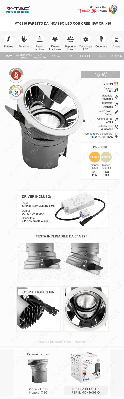 V-Tac VT-2916 Faretto LED da Incasso Rotondo e Orientabile COB CREE 15W CRI≥95