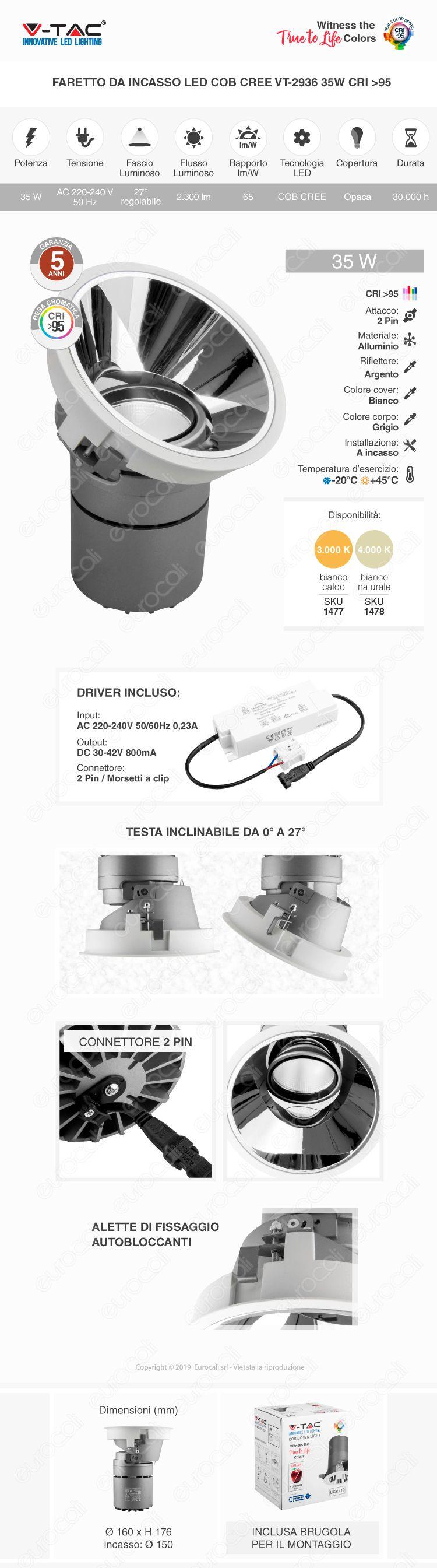 V-Tac VT-2936 Faretto LED da Incasso Rotondo e Orientabile COB CREE 35W CRI≥95