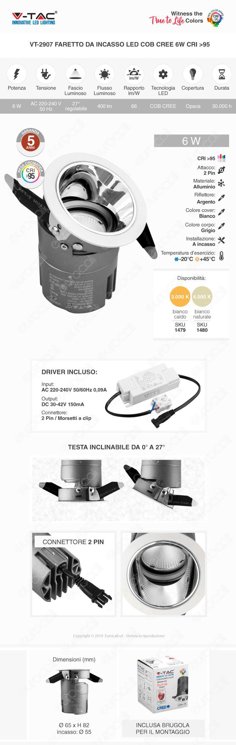 V-Tac VT-2907 Faretto LED da Incasso Rotondo e Orientabile COB CREE 6W CRI≥95