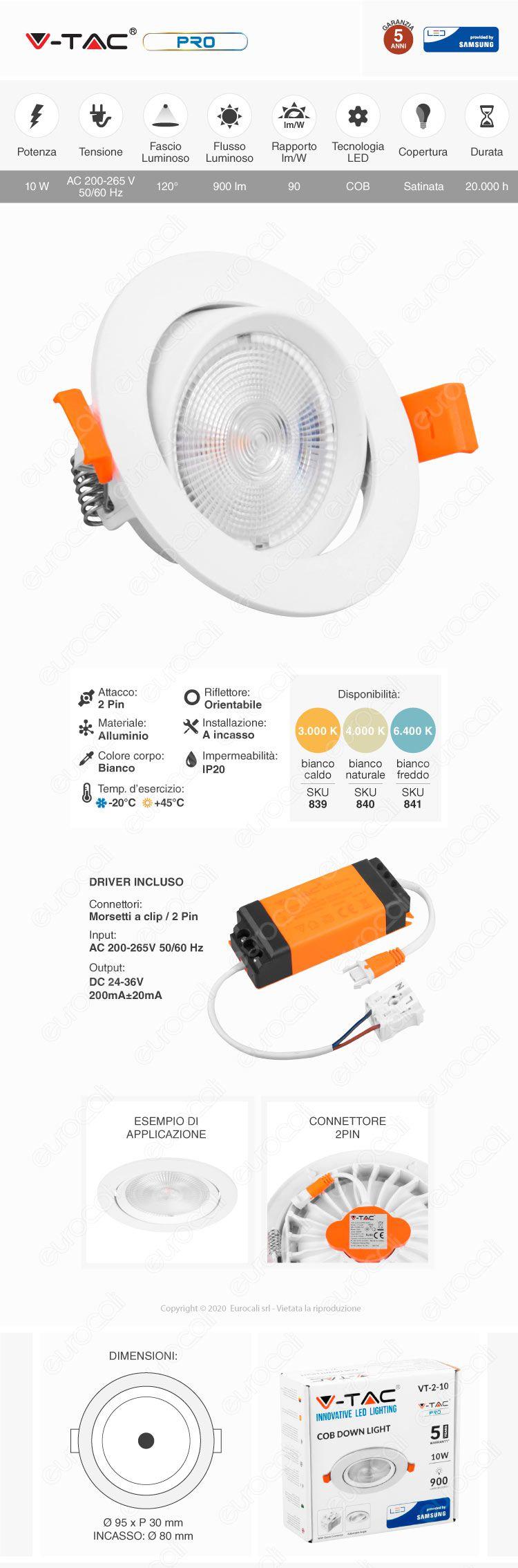 V-Tac PRO VT-2-10 Faretto LED da Incasso Rotondo 10W COB Chip Samsung