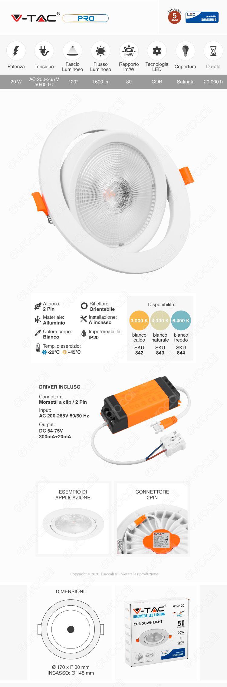 V-Tac PRO VT-2-20 Faretto LED da Incasso Rotondo 20W COB Chip Samsung