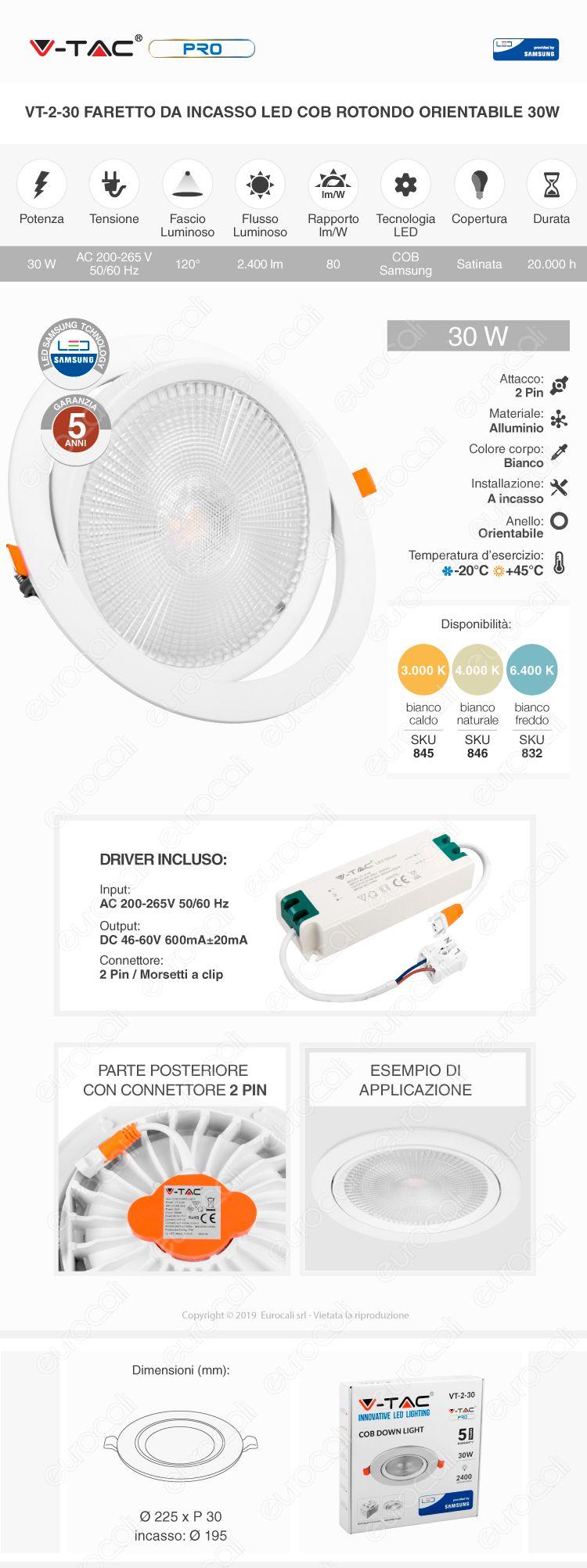 V-Tac PRO VT-2-30 Faretto LED da Incasso Rotondo 30W COB Chip Samsung