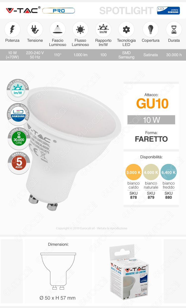 V-Tac PRO VT-271 Lampadina LED GU10 10W Faretto Spotlight Chip Samsung 110°