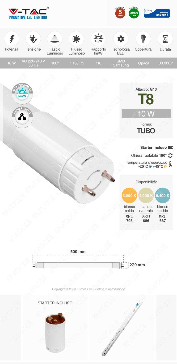 V-Tac PRO VT-062 SMD Tubo LED Nano Plastic T8 G13 10W Ruotabile Chip Samsung Lampadina 60cm