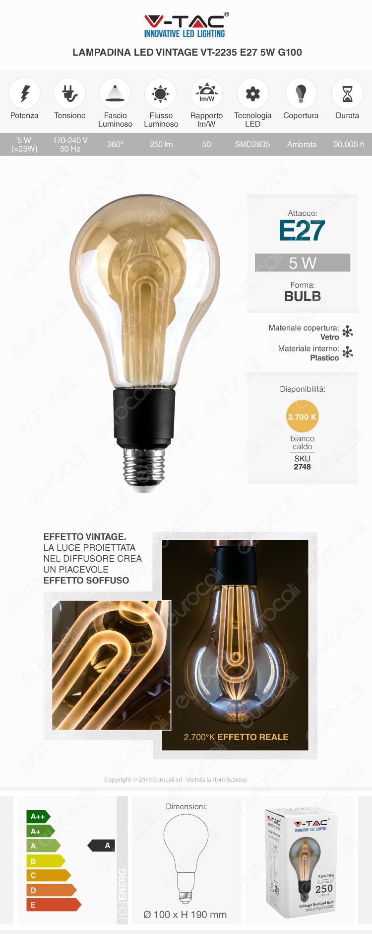 V-Tac VT-2185 Lampadina LED E27 4W Bulb ST64 Ambrata con Incisioni Laser