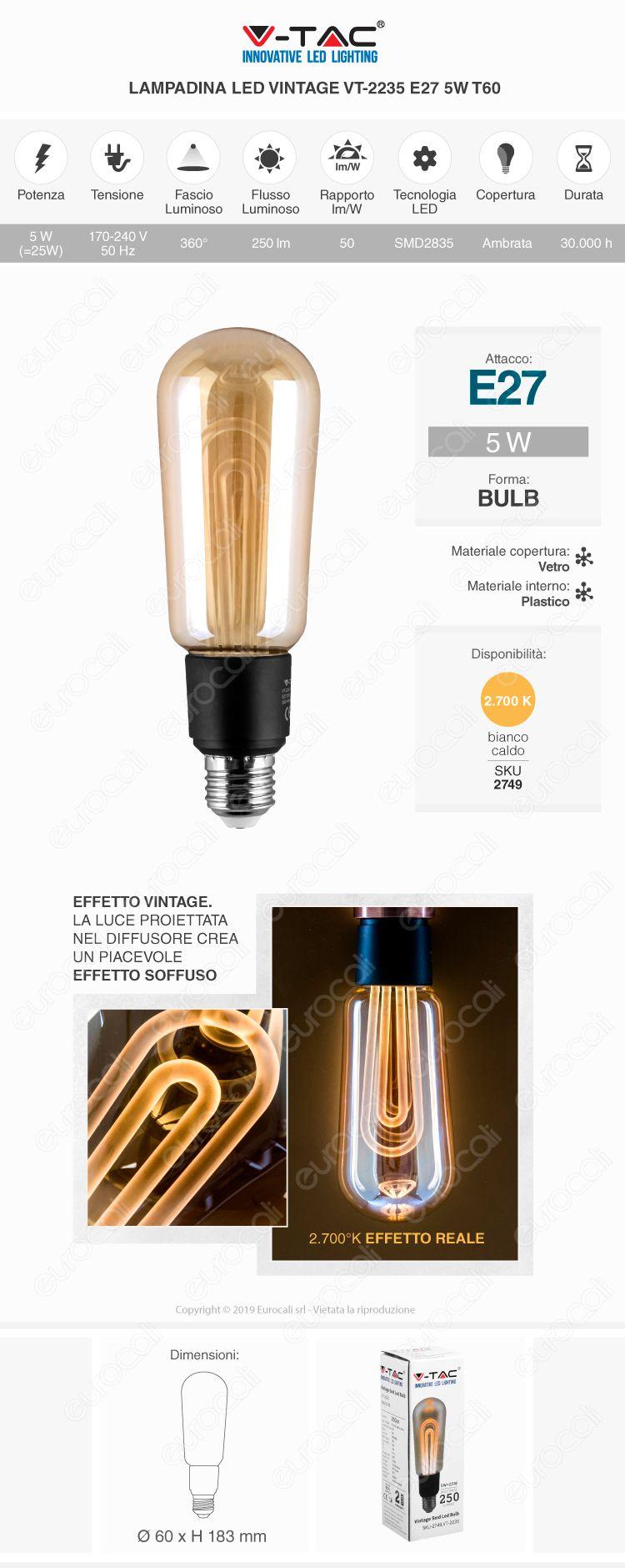 V-Tac VT-2235 Lampadina LED E27 5W Bulb T60 Ambrata