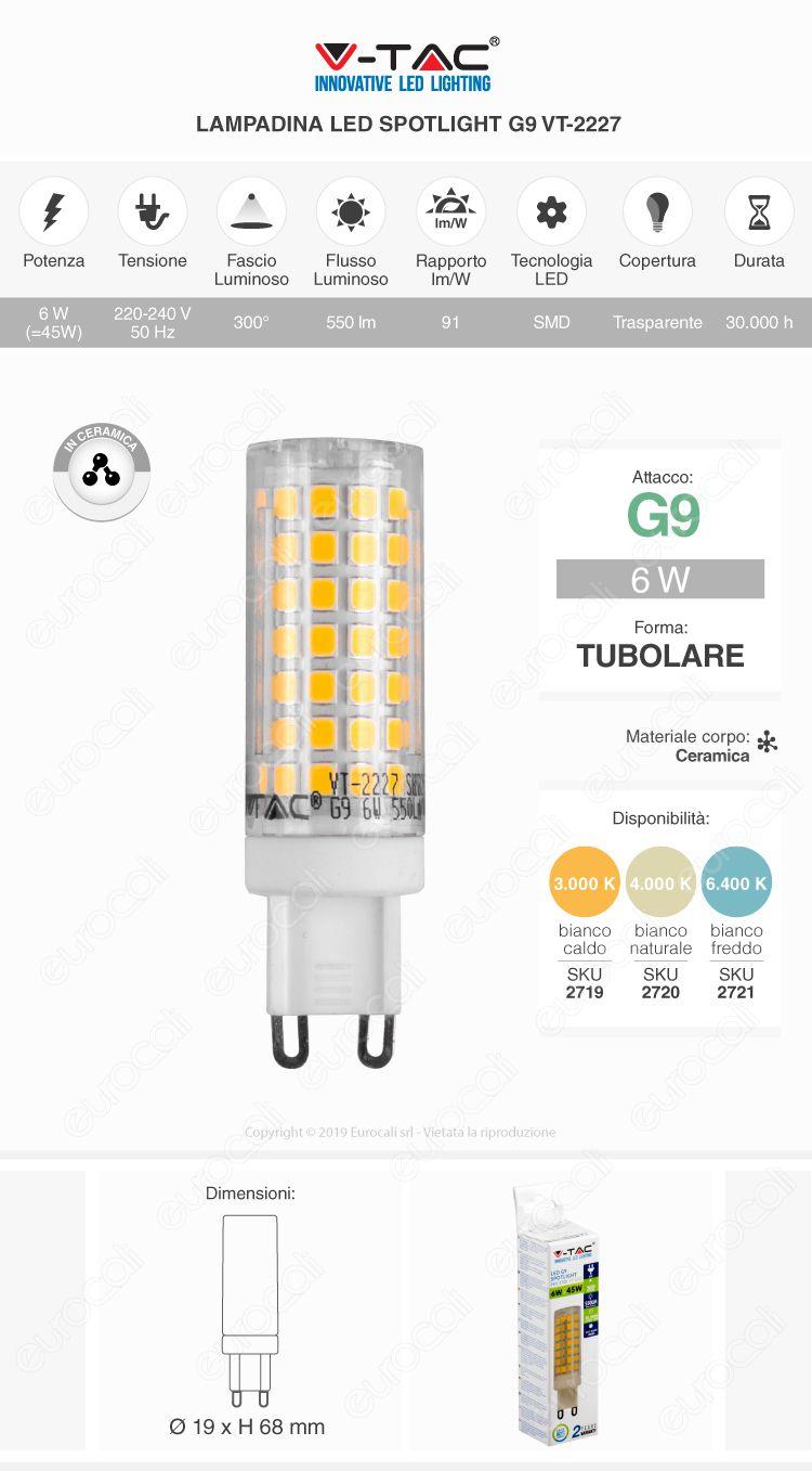 V-Tac VT-2227 Lampadina LED G9 6W Bulb in Ceramica