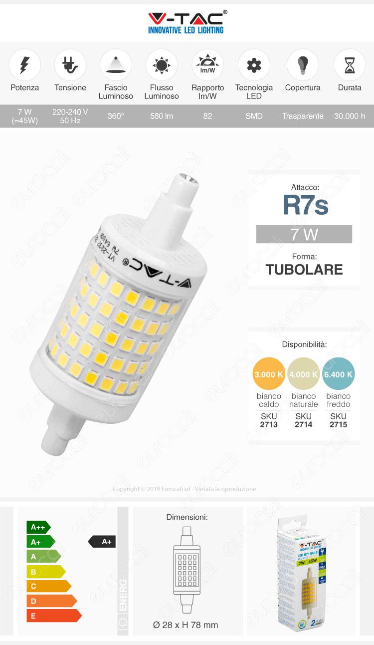 V-Tac VT-2237 Lampadina LED R7s L78 7W Bulb Tubolare