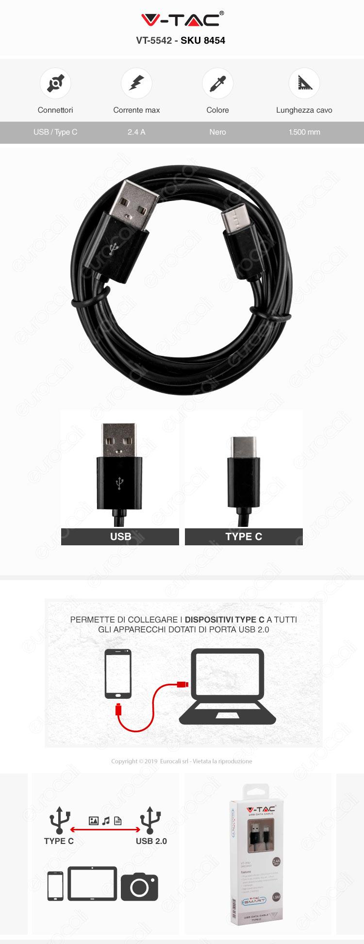 V-Tac VT-5542 USB Data Cable Type-C Cavo Nero 1,5m