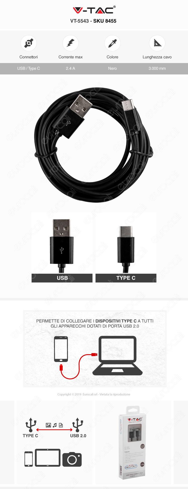V-Tac VT-5543 USB Data Cable Type-C Cavo Colore Nero 3m