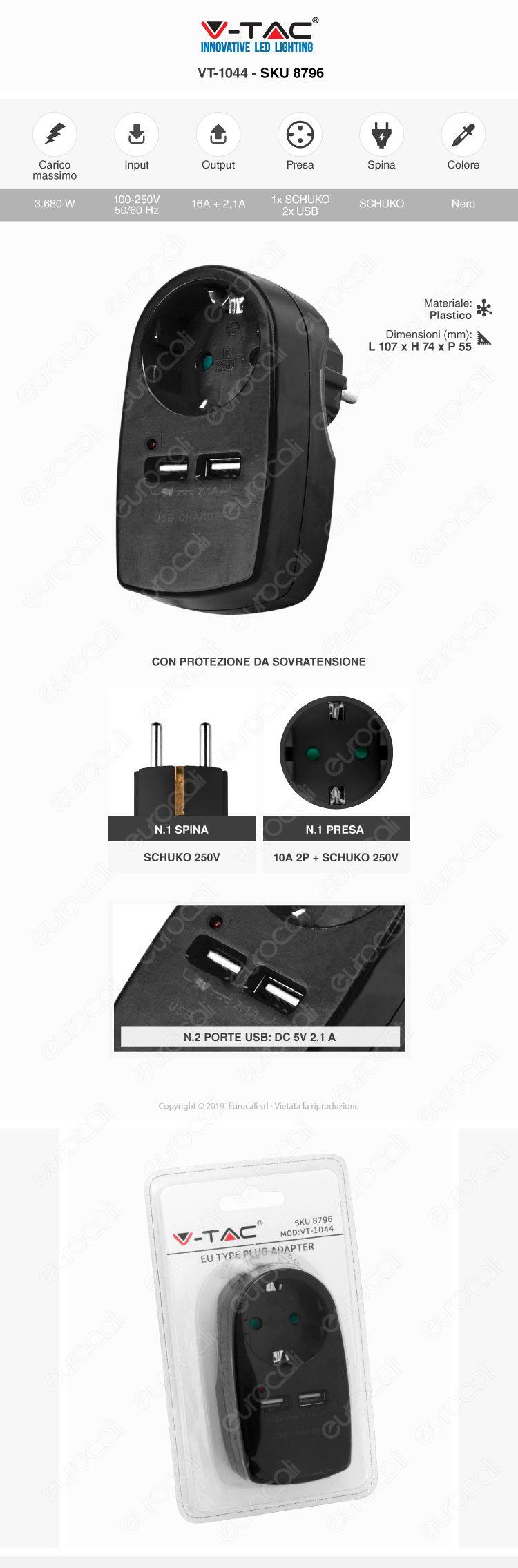V-Tac VT-1044 Adattatore con 2 Porte USB con Spina e Pesa Schuko Nero