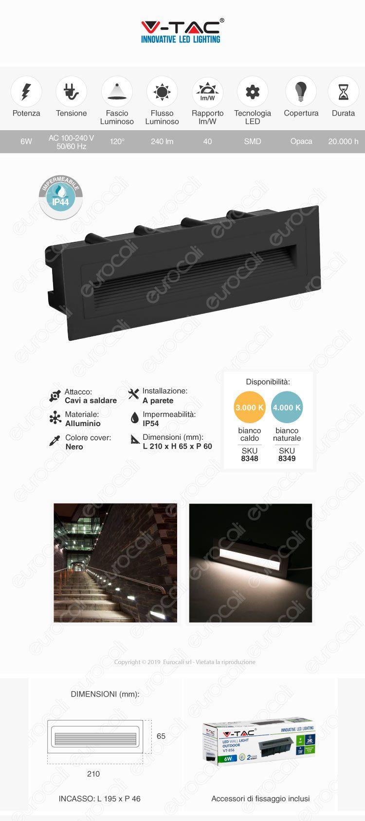 V-Tac VT-856 Faretto Segnapasso LED da Incasso Rettangolare 6W Nero