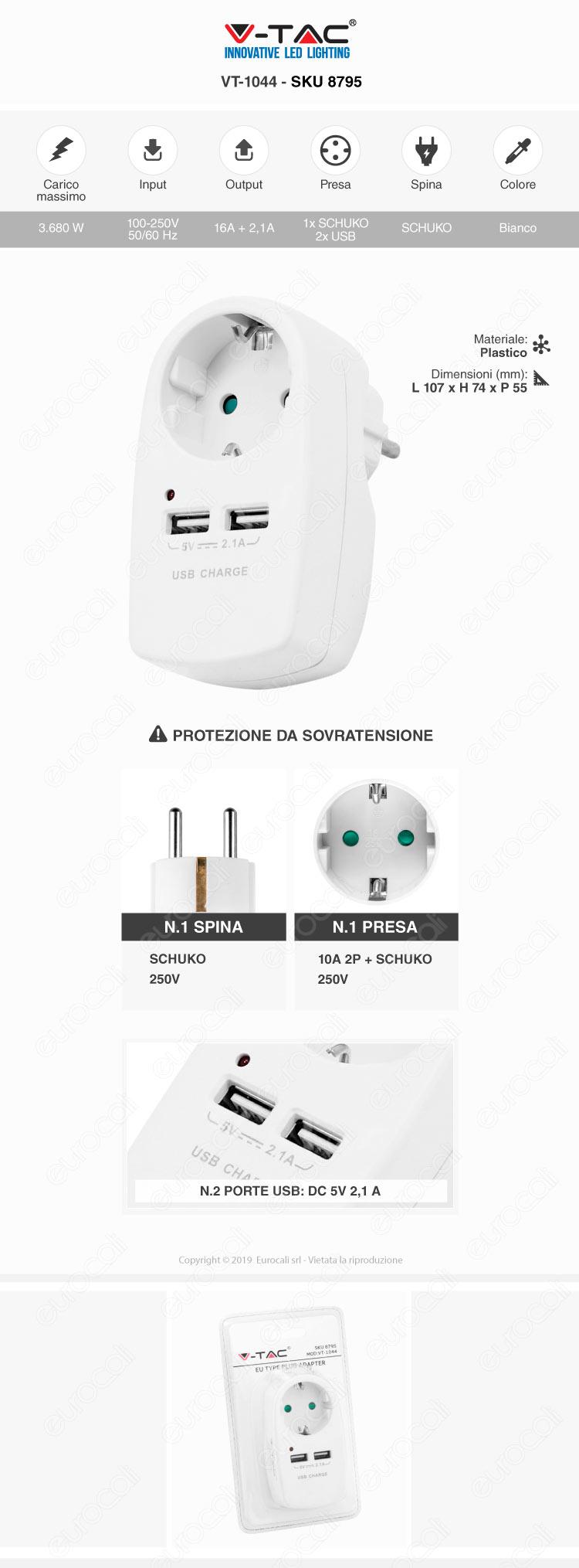 V-Tac VT-1044 Adattatore con 2 Porte USB con Spina e Pesa Schuko Bianc