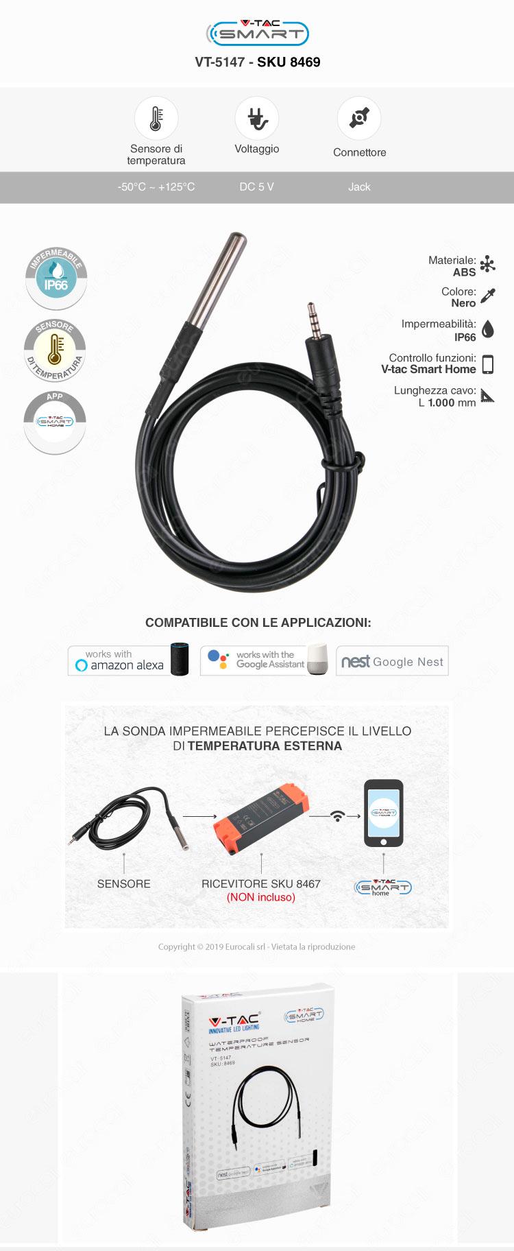 V-Tac Smart VT-5144 RF433 Gateway Compatibile con Amazon Alexa Google Home e Nest - SKU 8466