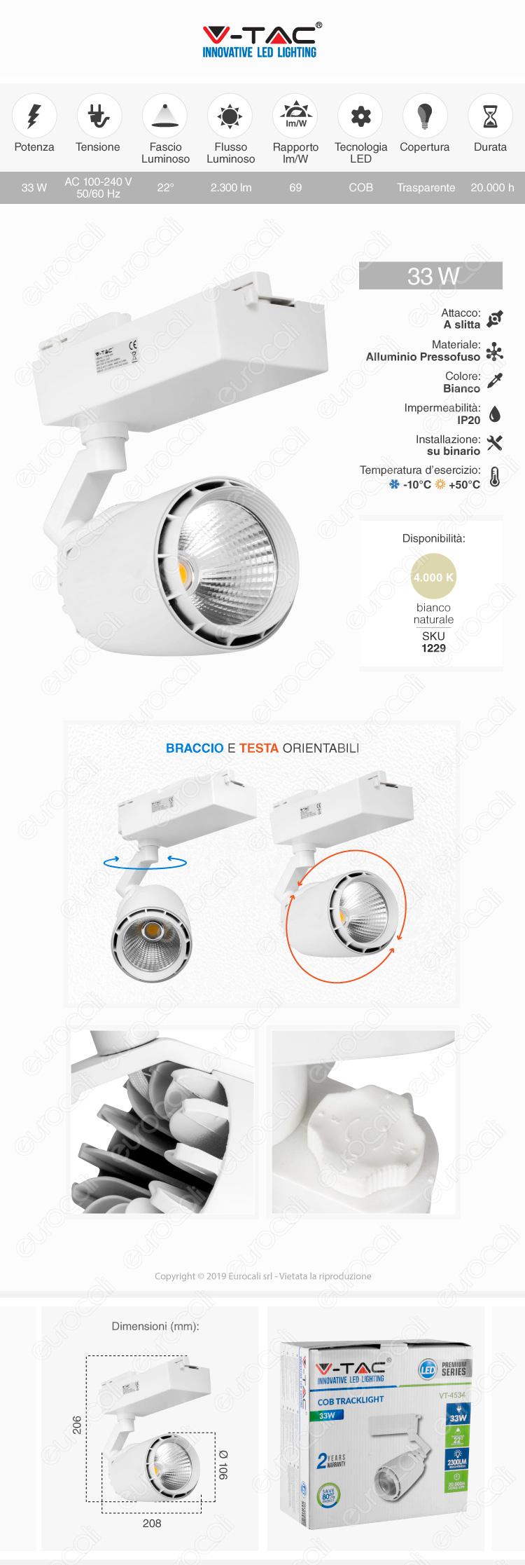 V-Tac VT-4534 Track Light LED COB 33W Bianco