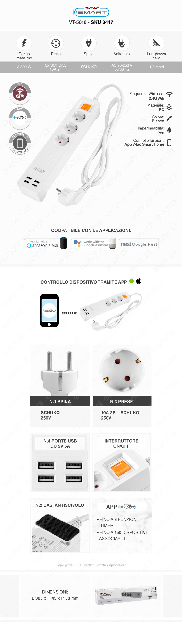 Multipresa V-Tac Smart VT-5018 Wi-Fi 3 Posti con 4 USB Colore Bianco con Interruttore