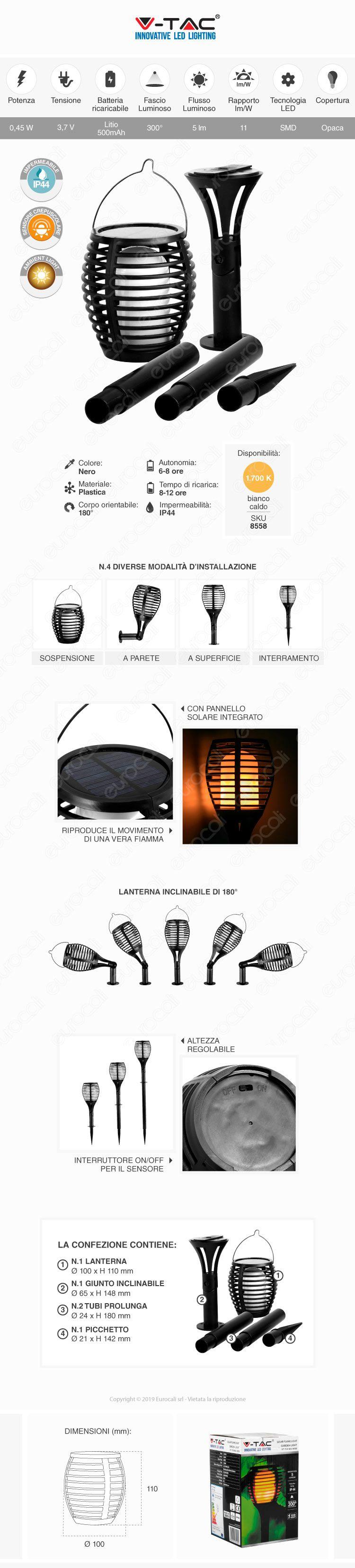 Lanterna da Giardino con Luce LED e Pannello Solare V-Tac VT-719