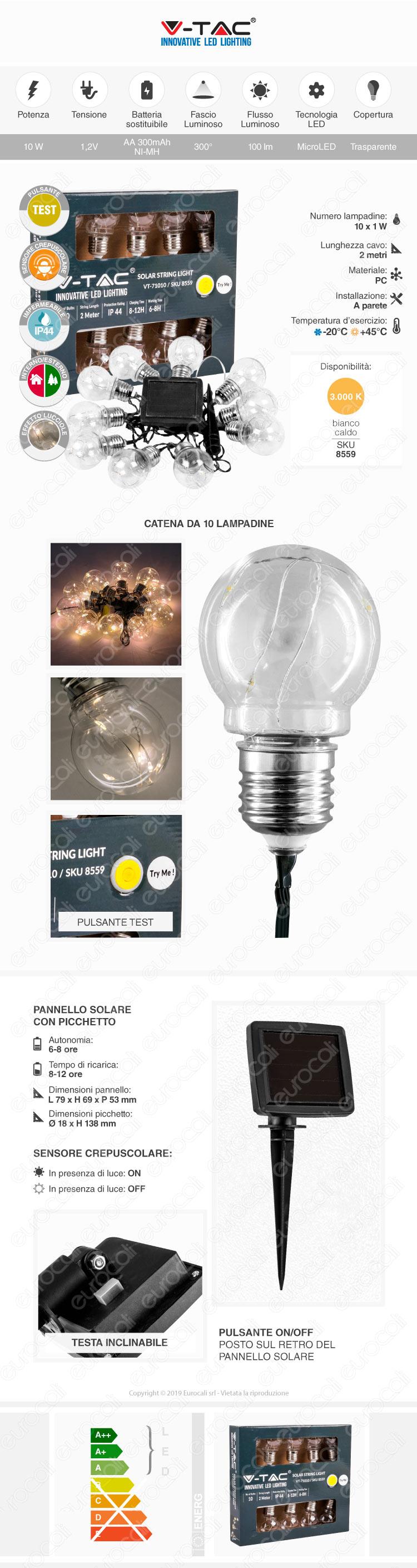 V-Tac VT-71510 Catena da 10 Lampadine LED Mini Globo Filament per Interno e Esterno