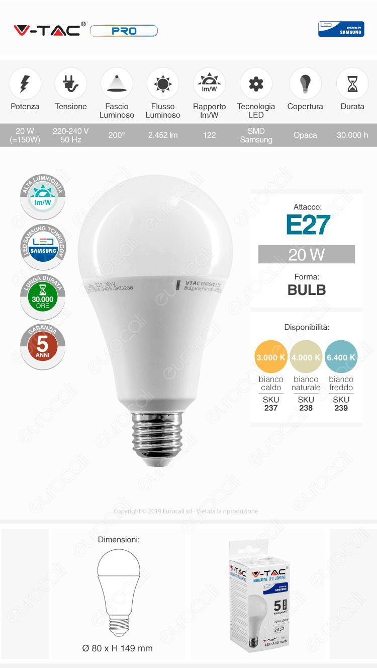 V-Tac PRO VT-233 Lampadina LED E27 20W Bulb A80 Chip Samsung