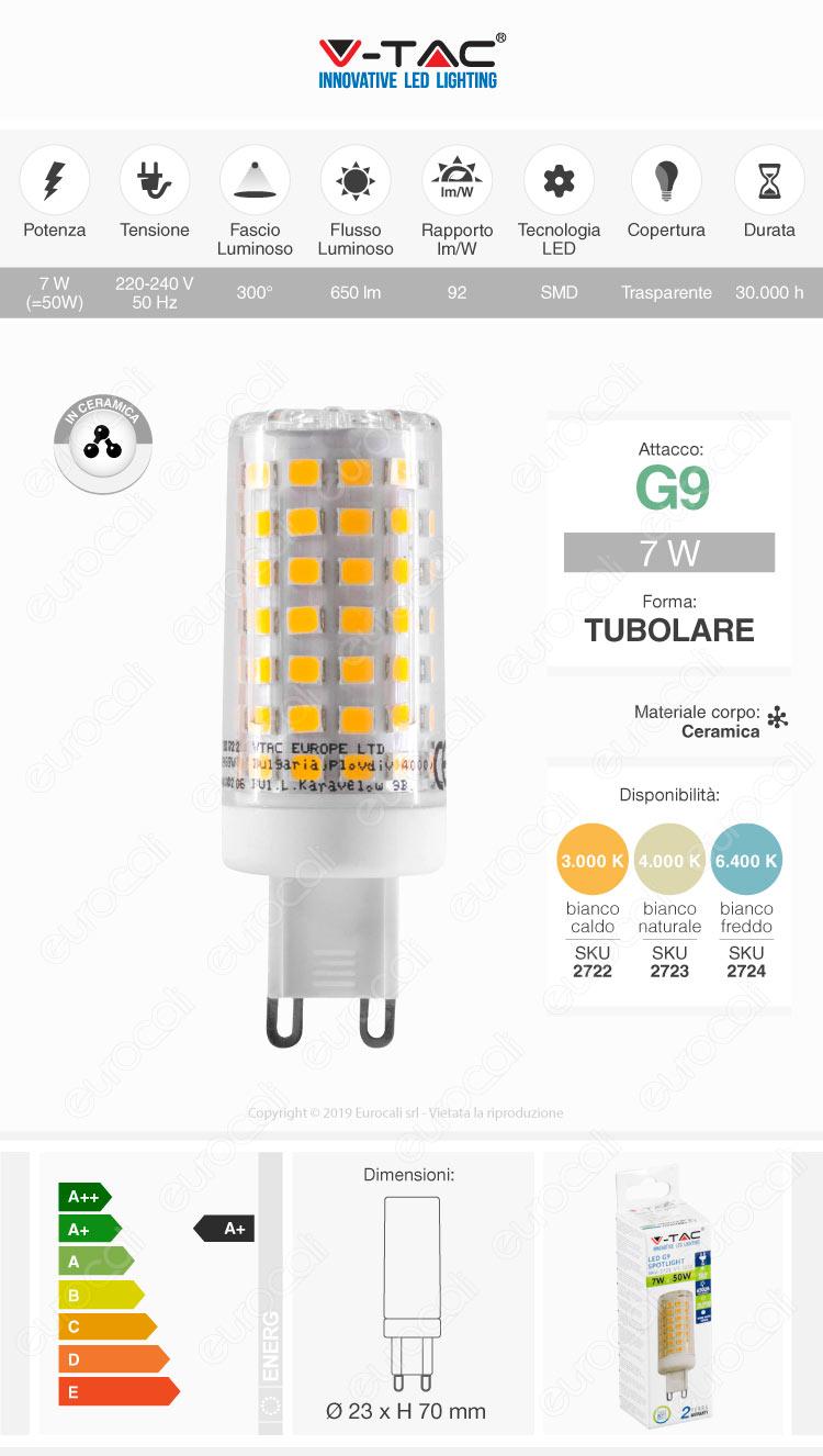V-Tac VT-2228 Lampadina LED G9 7W Tubolare in Ceramica