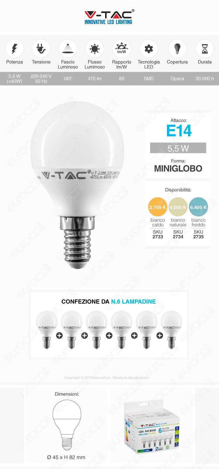 V-Tac VT-2266 Super Saver Pack Confezione 6 Lampadine LED E14 5,5W MniGlobo