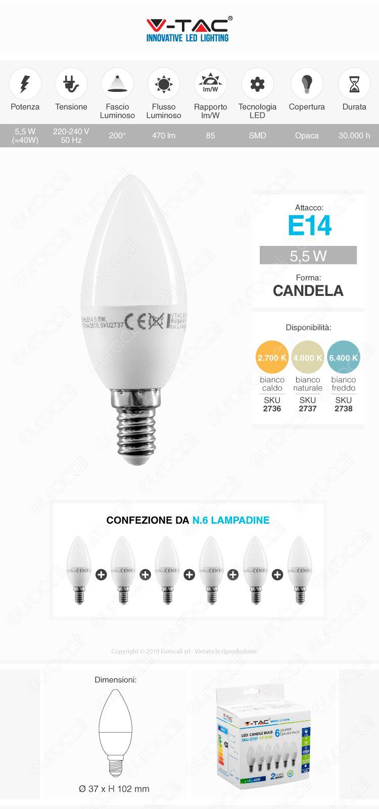 V-Tac VT-2246 Super Saver Pack Confezione 6 Lampadine LED E14 5,5W Candel