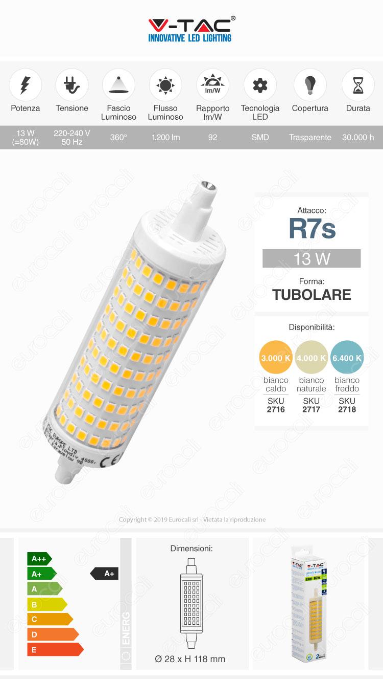V-Tac VT-2213 Lampadina LED R7s L118 13W Bulb Tubolare