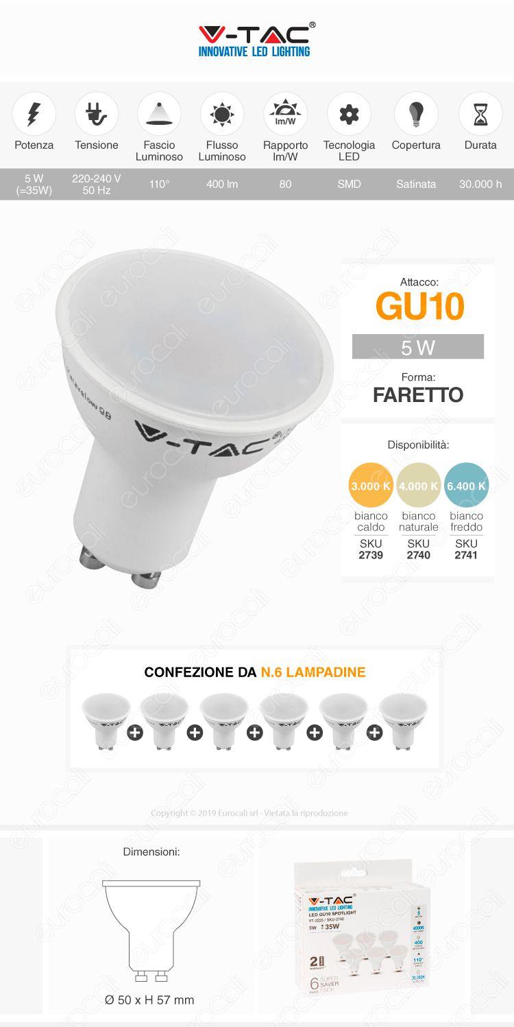 V-Tac VT-2225 Super Saver Pack Confezione 6 Faretti LED GU10 5W Spotlight 110°