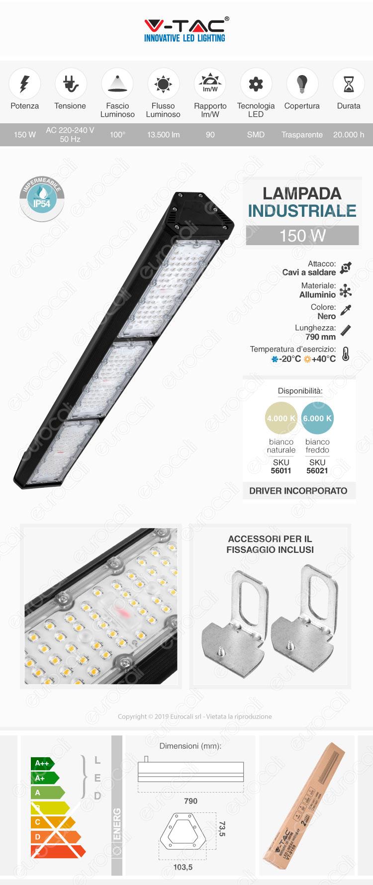 V-Tac VT-9159 Lampada Industriale LED Linear 150W SMD High Bay