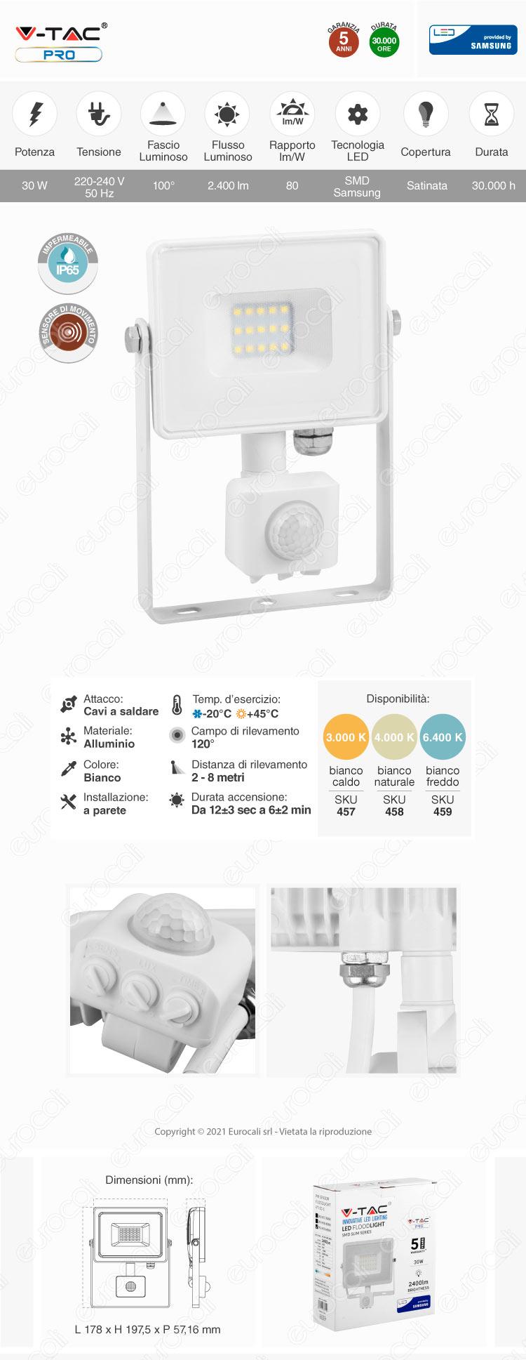 V-Tac PRO VT-30-S Faretto LED 30W Ultra Sottile Slim Chip Samsung con Sensore Colore Bianco