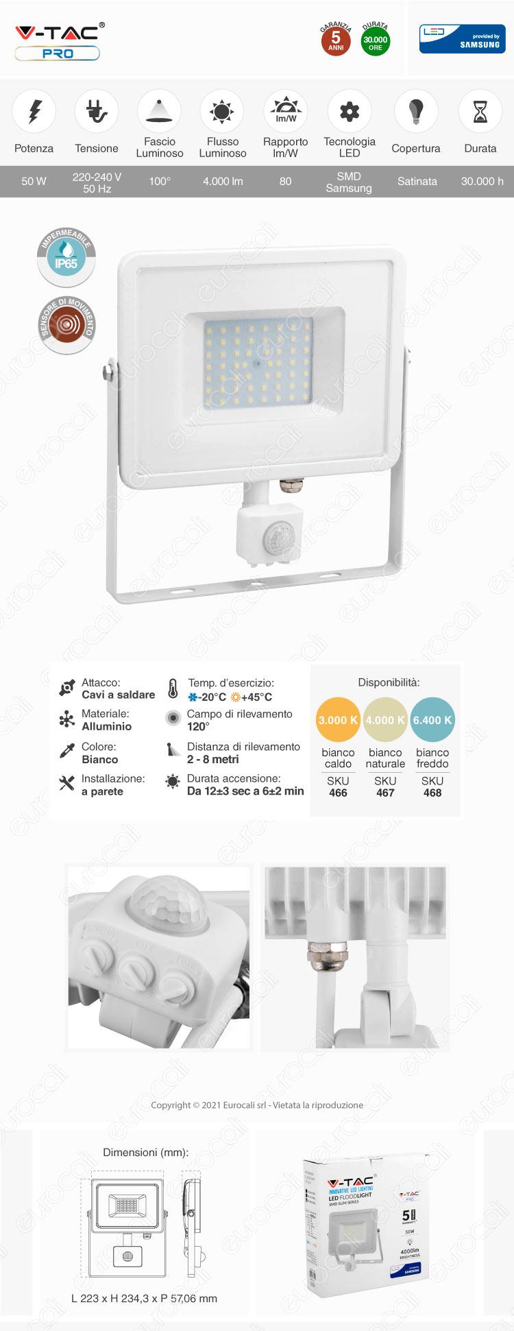 V-Tac PRO VT-50-S Faretto LED 50W Ultra Sottile Slim Chip Samsung con Sensore Colore Bianco