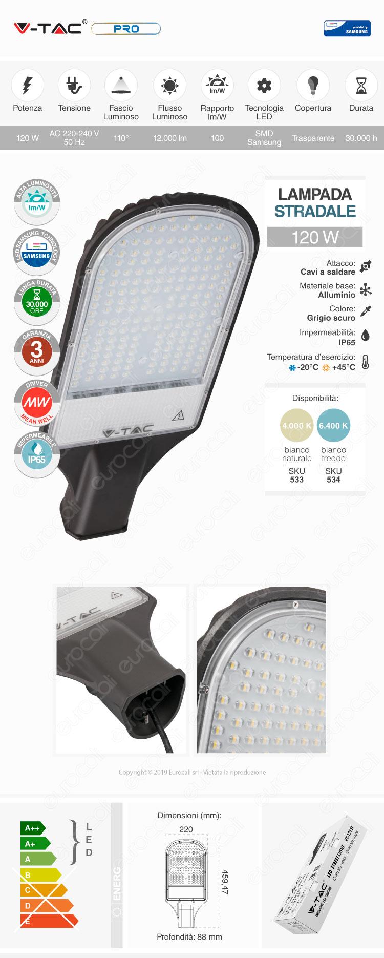 V-Tac PRO VT-121ST Lampada Stradale LED 120W Lampione SMD Chip Samsung
