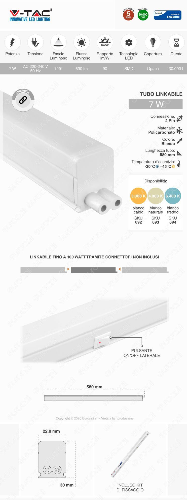 VT-065 V-Tac PRO Tubo LED T5 Chip Samsung Plafoniera Raccordabile 7W Lampadina 60cm
