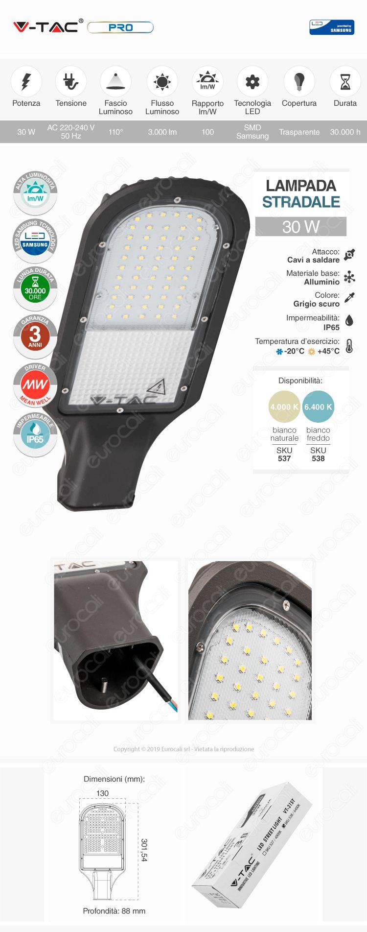 V-Tac PRO VT-31ST Lampada Stradale LED 30W Lampione SMD Chip Samsung
