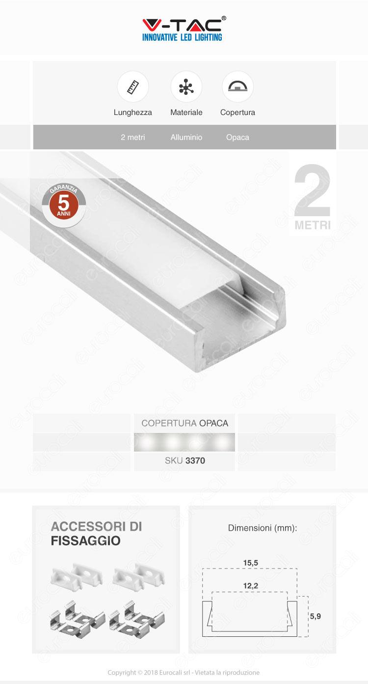 V-Tac VT-9327 4 Profili in Alluminio per Strisce LED - Lunghezza 2 metri