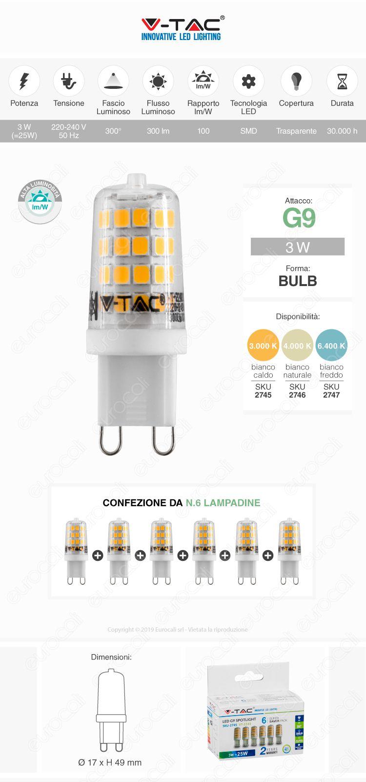 V-Tac VT-2243 Super Saver Pack Confezione 6 Lampadine LED GU9 3W