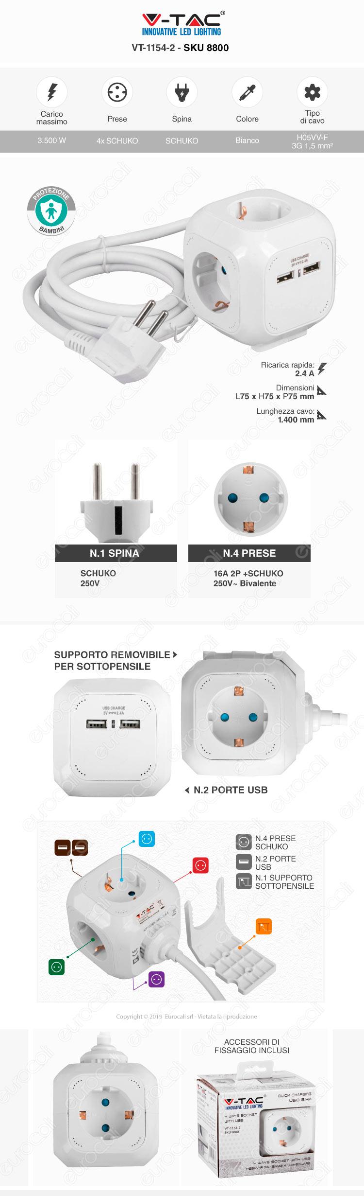 V-Tac Multipresa Salvaspazio 4 Posti e 2 Prese USB Colore Bianco