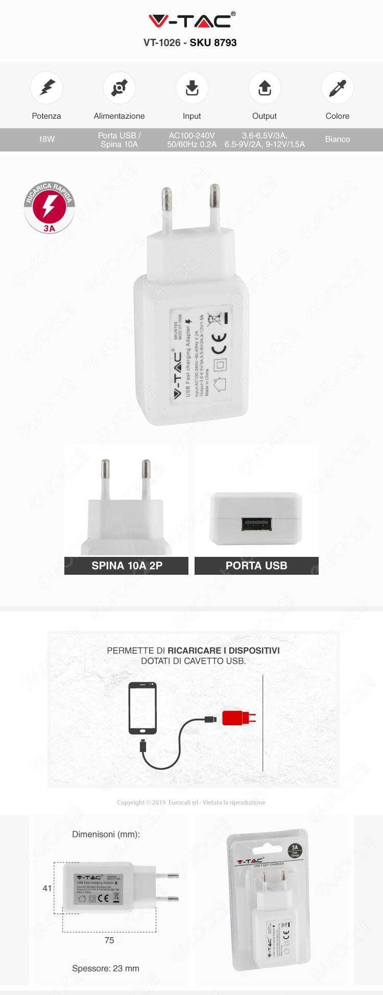 V-Tac VT-1026 Caricabatteria USB da Muro Fast Charge Colore Bianco