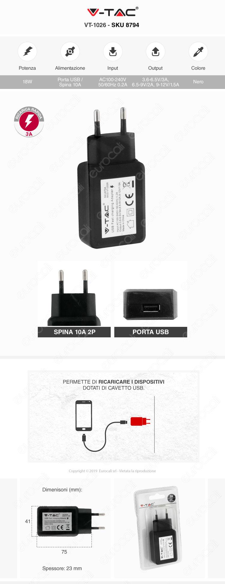 V-Tac VT-1026 Caricabatteria USB da Muro Fast Charge Colore Nero