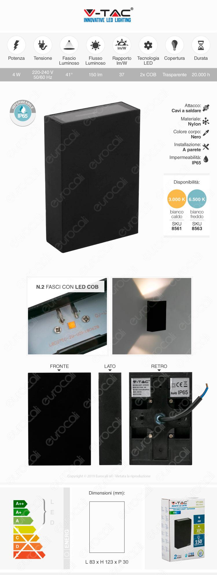 V-Tac VT-844 Lampada da Muro Wall Light Nera con Doppio LED COB 4W