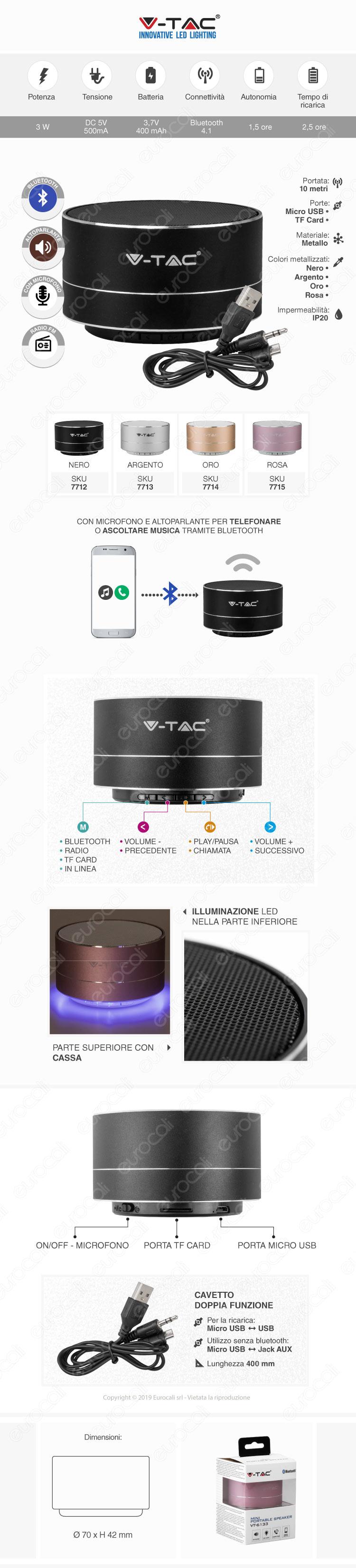 V-Tac VT-6133 Speaker Bluetooth Portatile 3W con Microfono Ingresso MicroSD e Radio FM