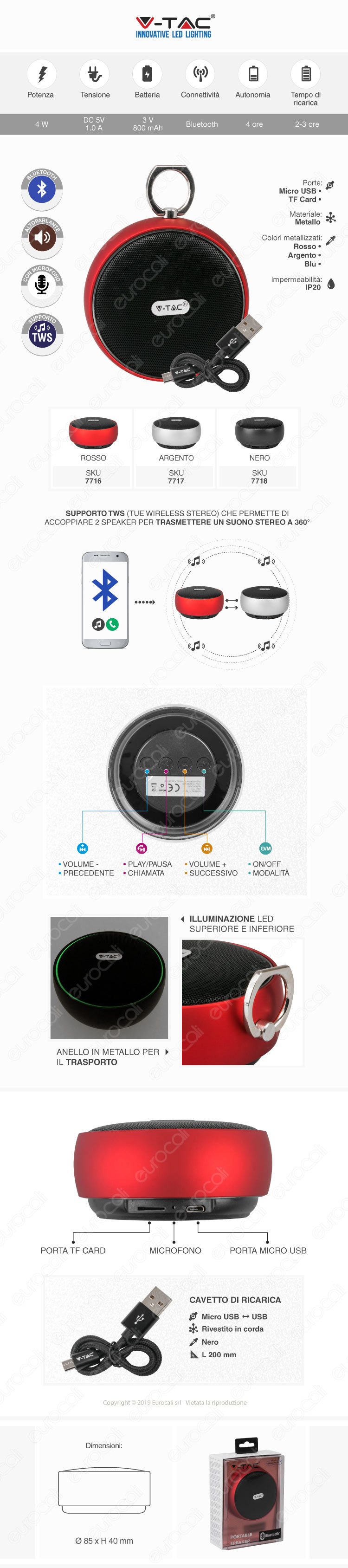 VT-6211 V-Tac Speaker Bluetooth Portatile 4W con Microfono Ingresso MicroSD e Radio FM