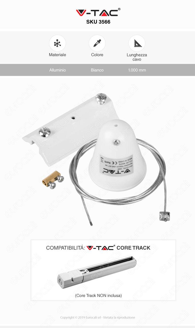V-Tac Kit Sospensione Singola in Acciaio per Track Light a Binario Bianco