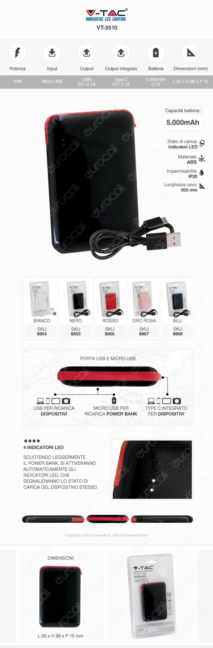 V-Tac VT-3504 Power Bank Portatile 10000 mAh 2 Uscite USB 2,1A