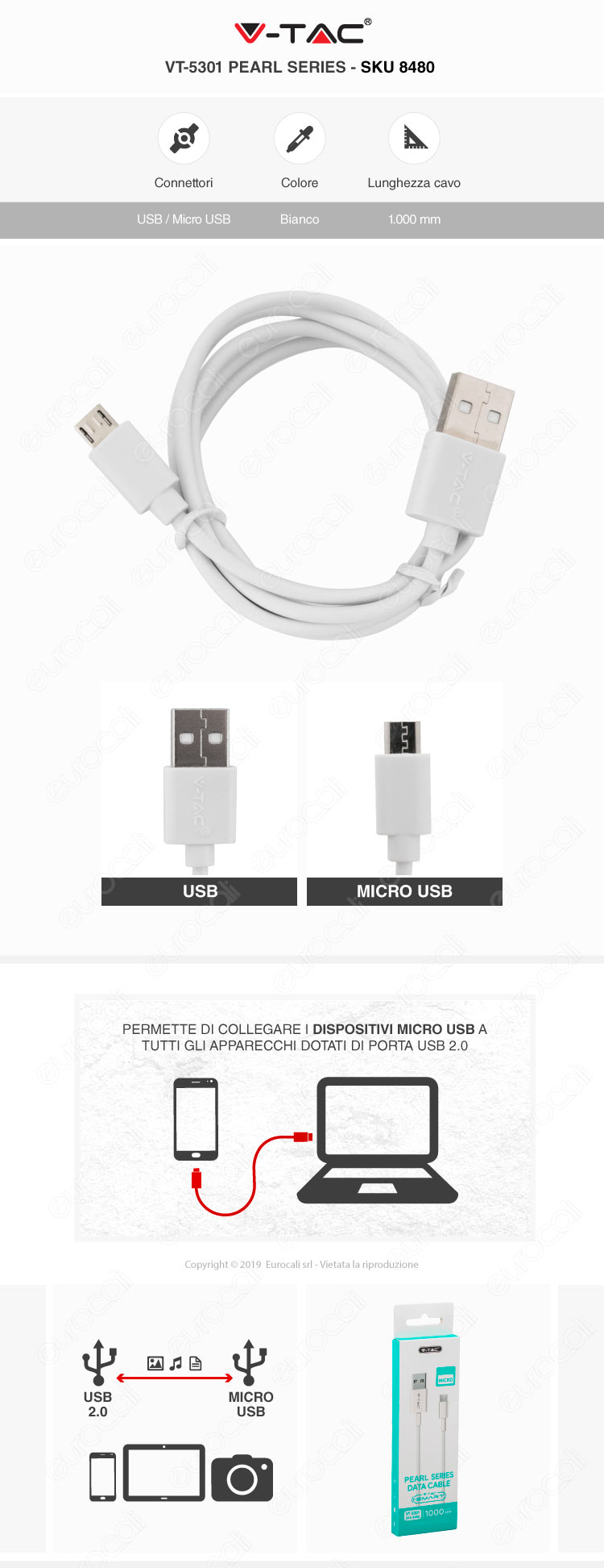 V-Tac VT-5301 Pearl series USB Data Cable Micro USB Cavo Colore Bianco 1m