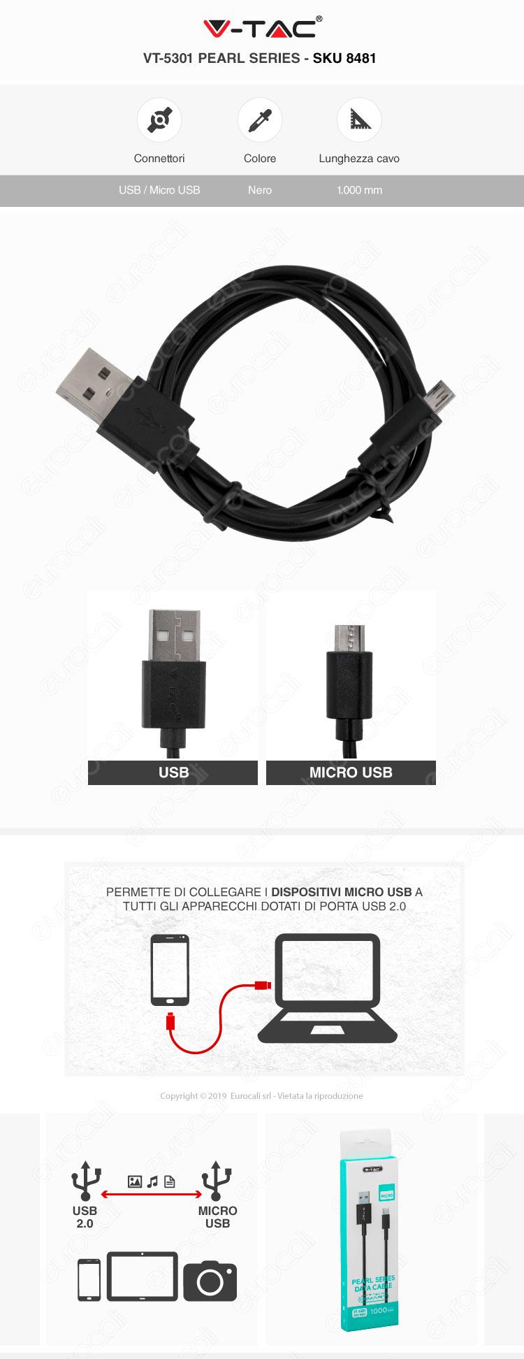 V-Tac VT-5301 Pearl series USB Data Cable Micro USB Cavo Colore nero 1m