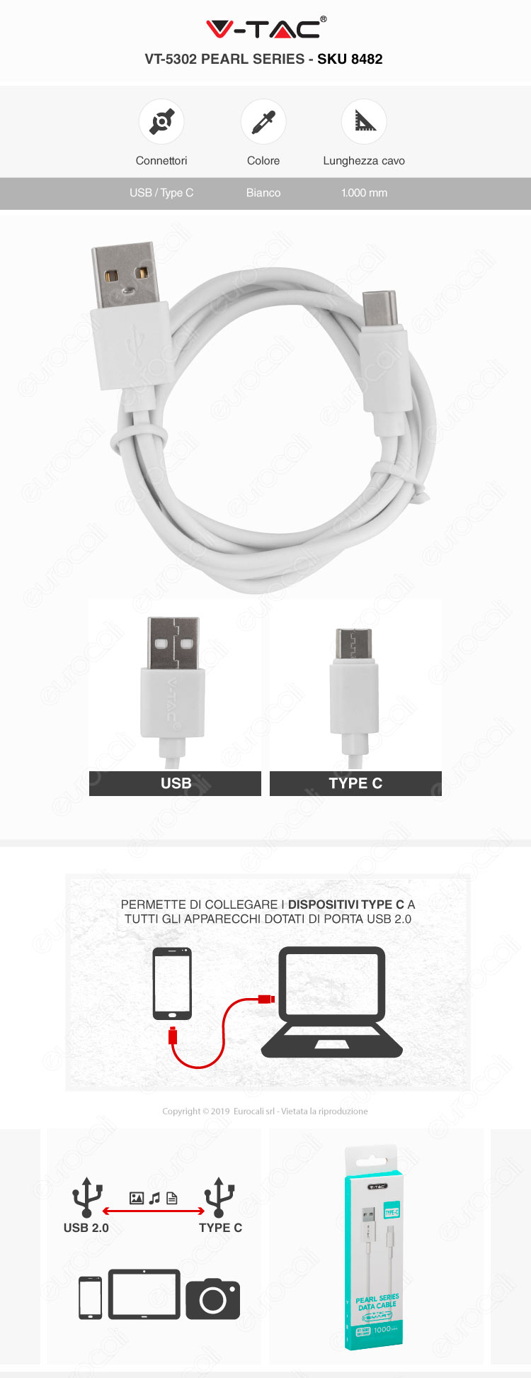 V-Tac VT-5302 Pearl series USB Data Cable Type-C Cavo Colore Bianco 1m