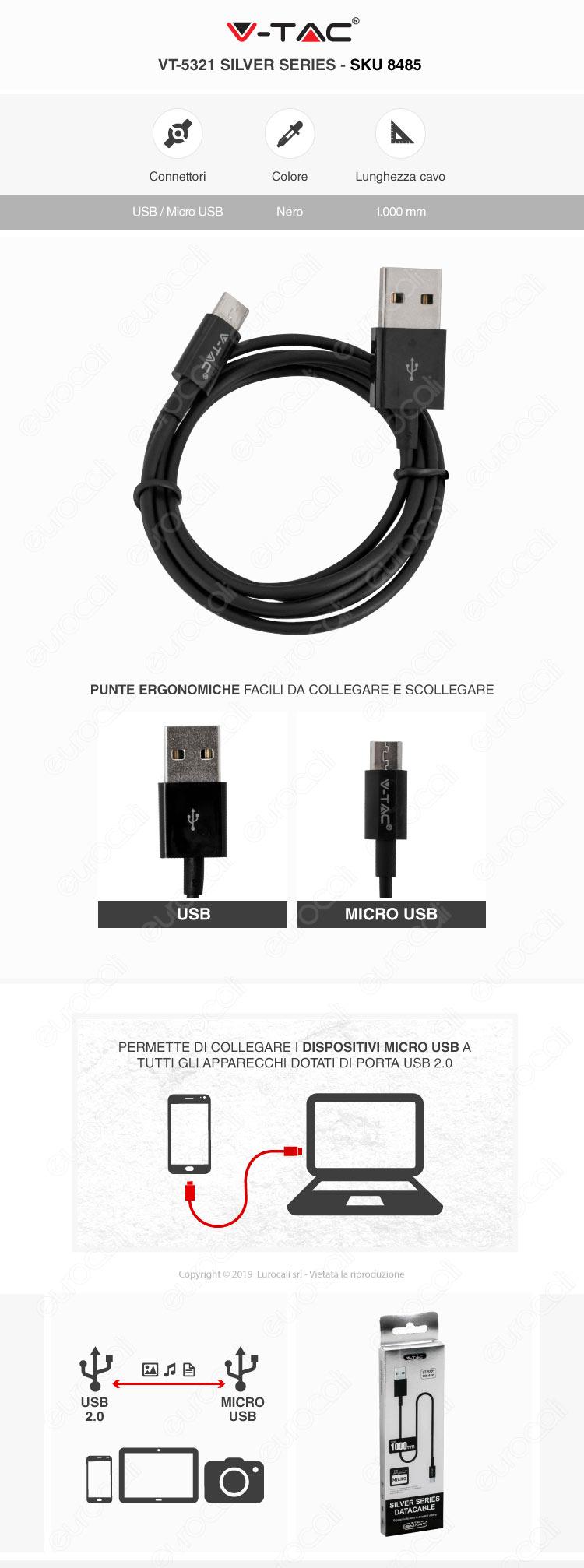 V-Tac VT-5321 Silver series USB Data Cable Micro USB Cavo Colore Nero 1m